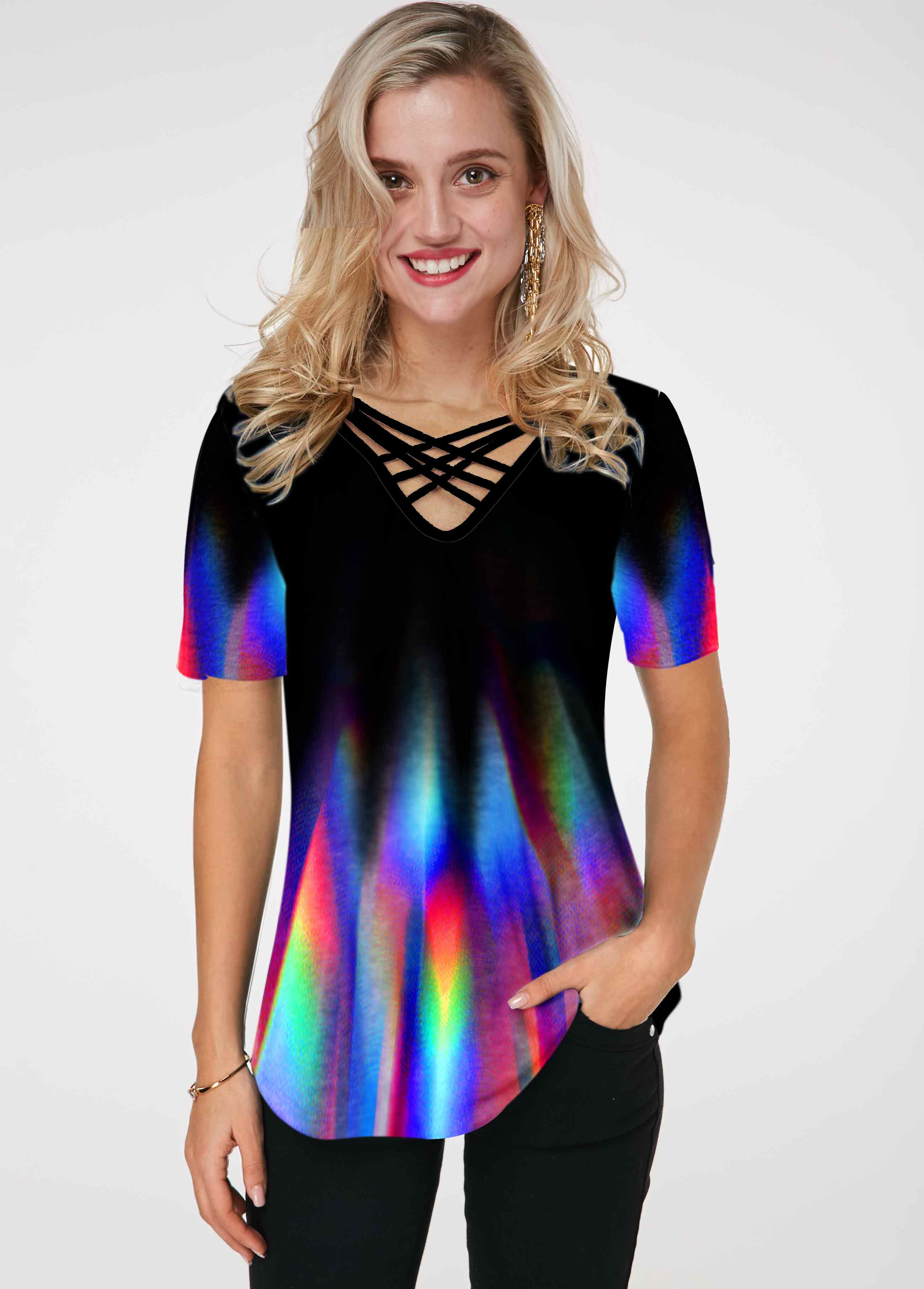 Rainbow Print Strappy Neck Short Sleeve T Shirt