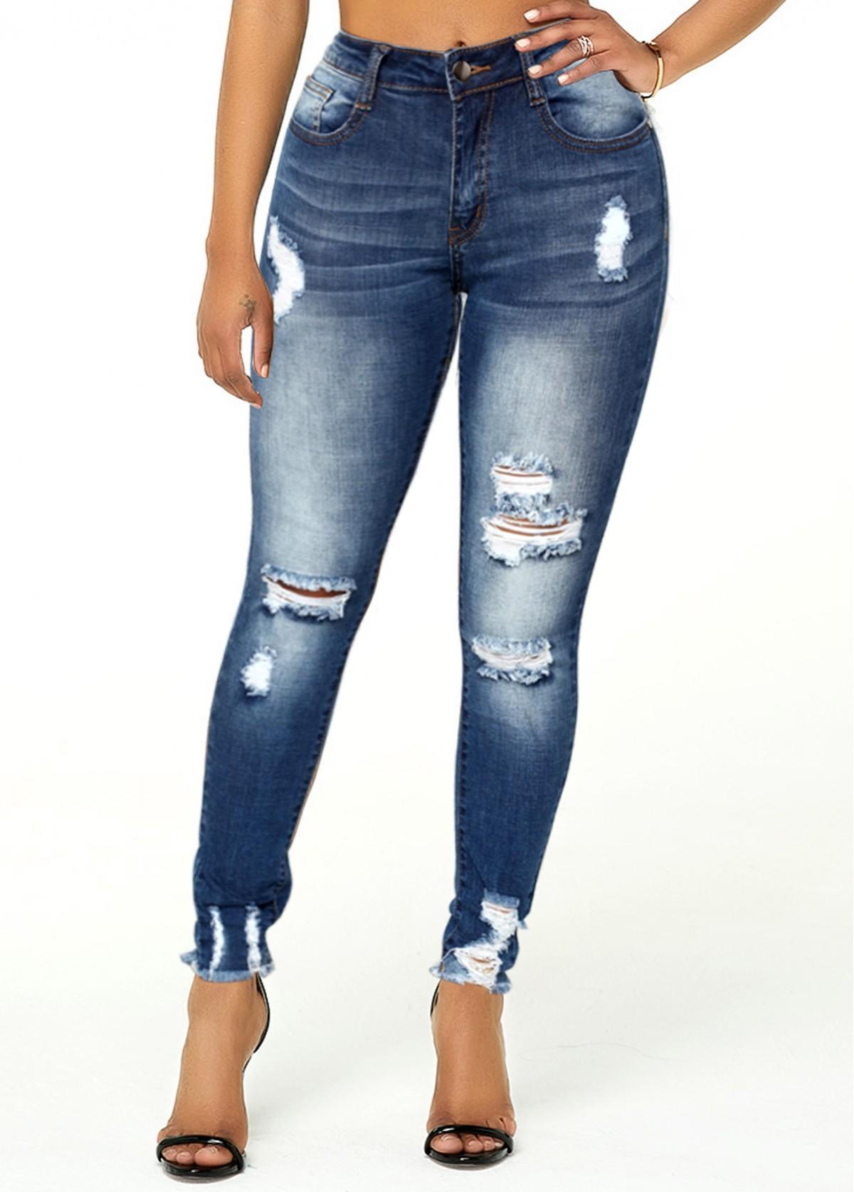 Shredded Acid Washed Frayed Hem Jeans