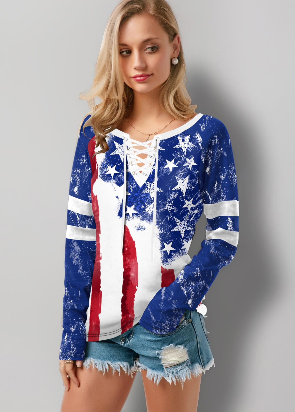 Flag Print Lace Up Long Sleeve T Shirt