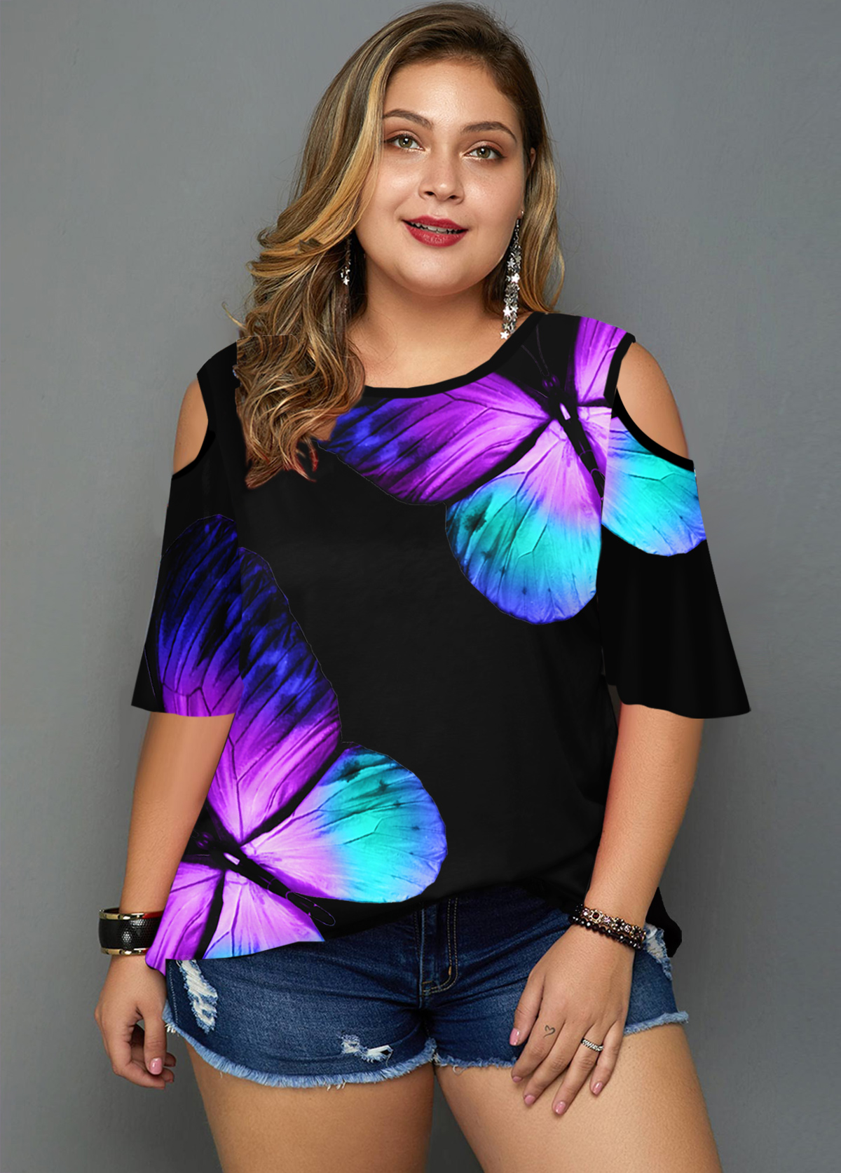 Plus Size Butterfly Print Cold Shoulder T Shirt