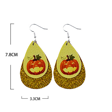 Halloween Pumpkin Gold Water Drop Shape Earring Set