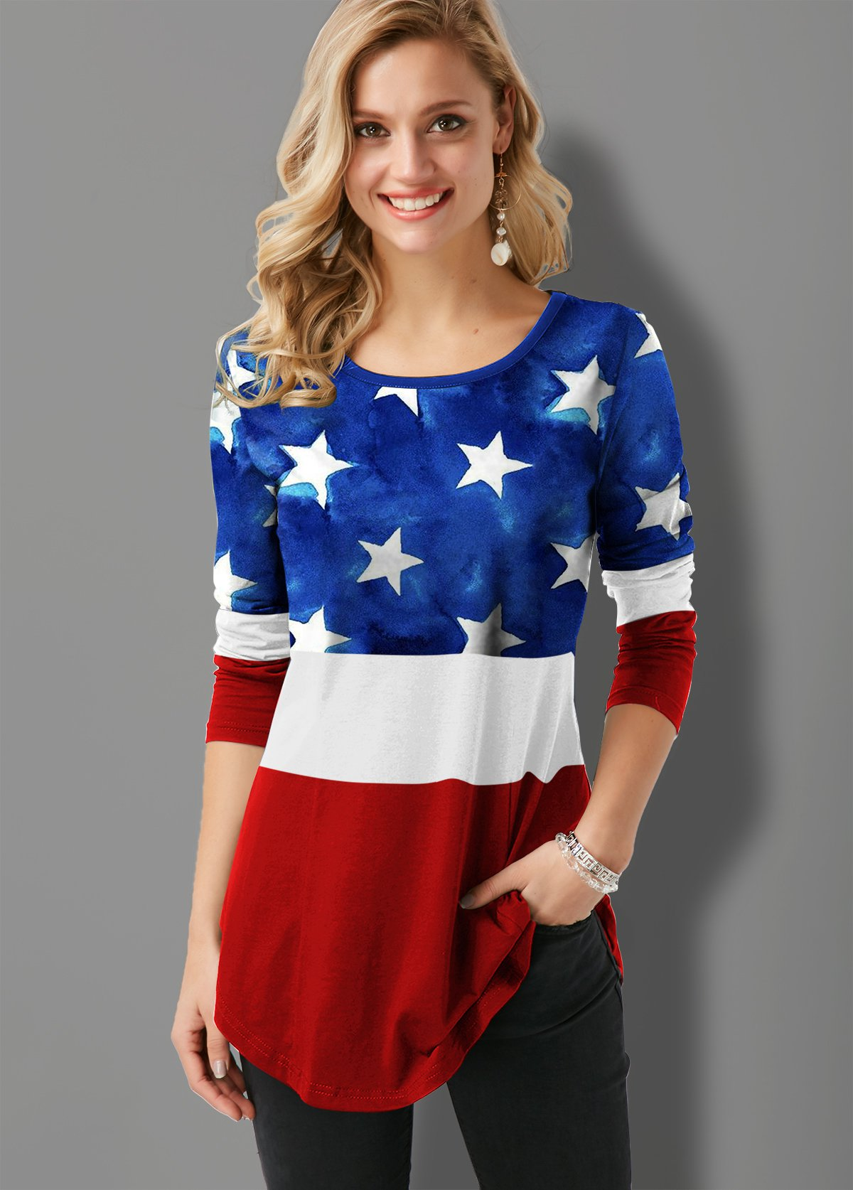 Flag Print Round Neck Contrast T Shirt