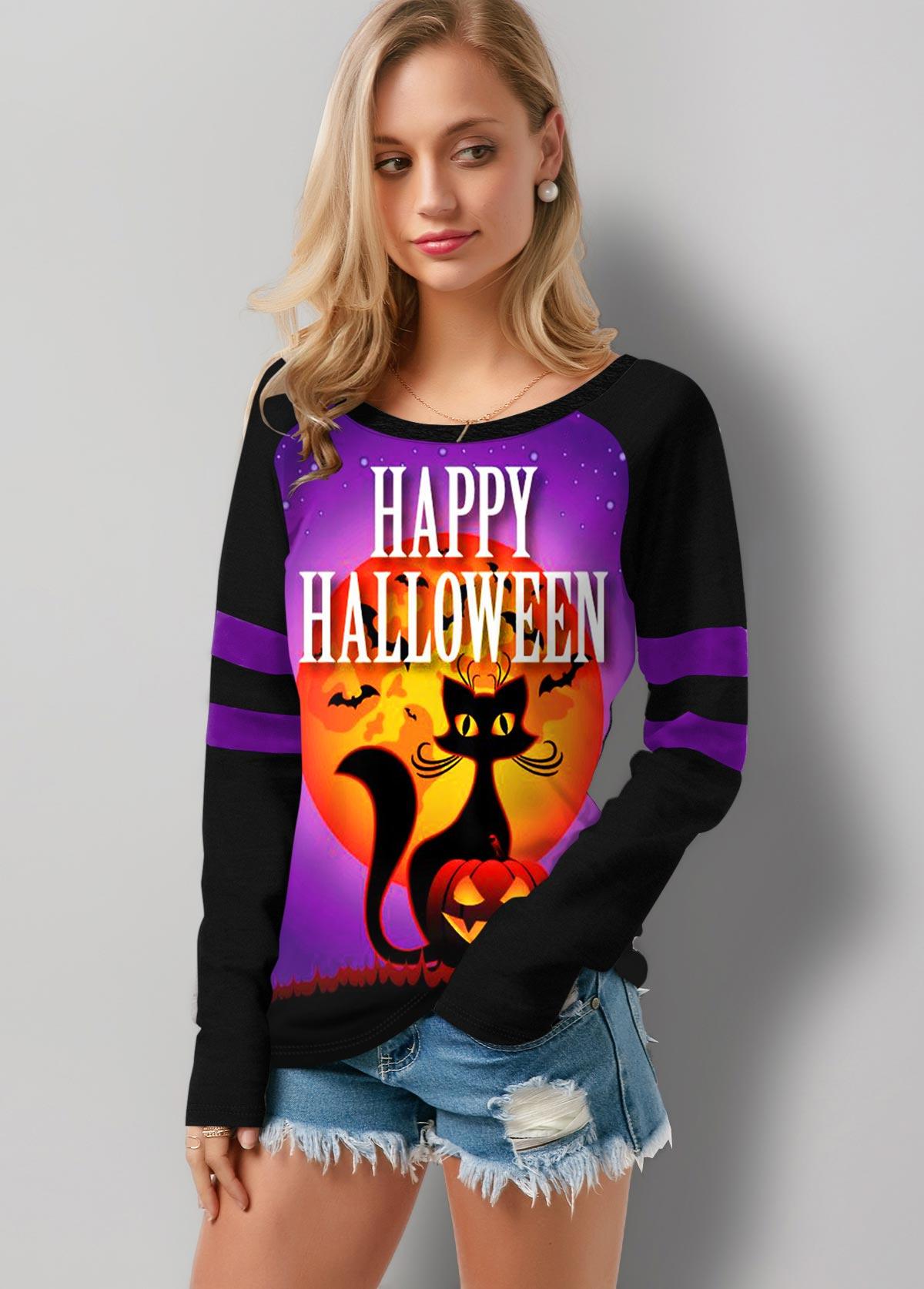 Halloween Print Round Neck Long Sleeve T Shirt
