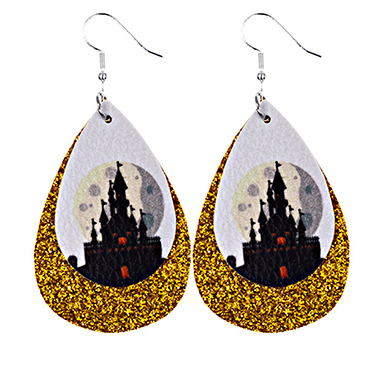 Halloween Water Drop Shape Castle Print Earring Set