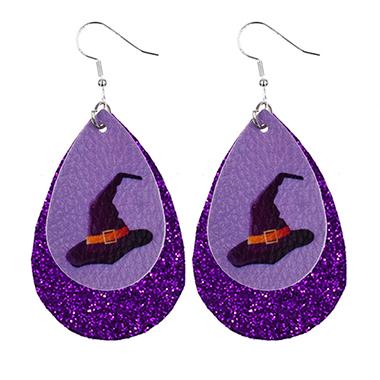 Water Drop Shape Halloween Print Earring Set