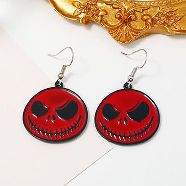 Halloween Ghost Red Metal Earring Set