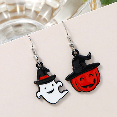 Halloween Ghost Color Block Earring Set