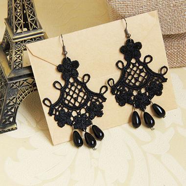Black Lace Tassel Halloween Earring Set