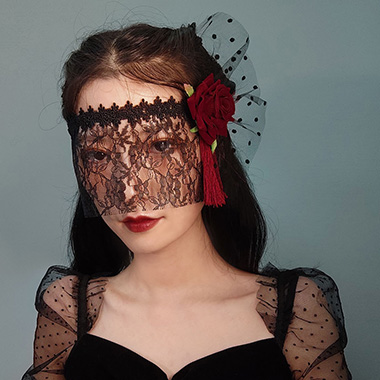 Rose Design Lace Black Halloween Eye Mask