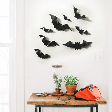 1pc Luminous Halloween Bat Black PVC Sticker