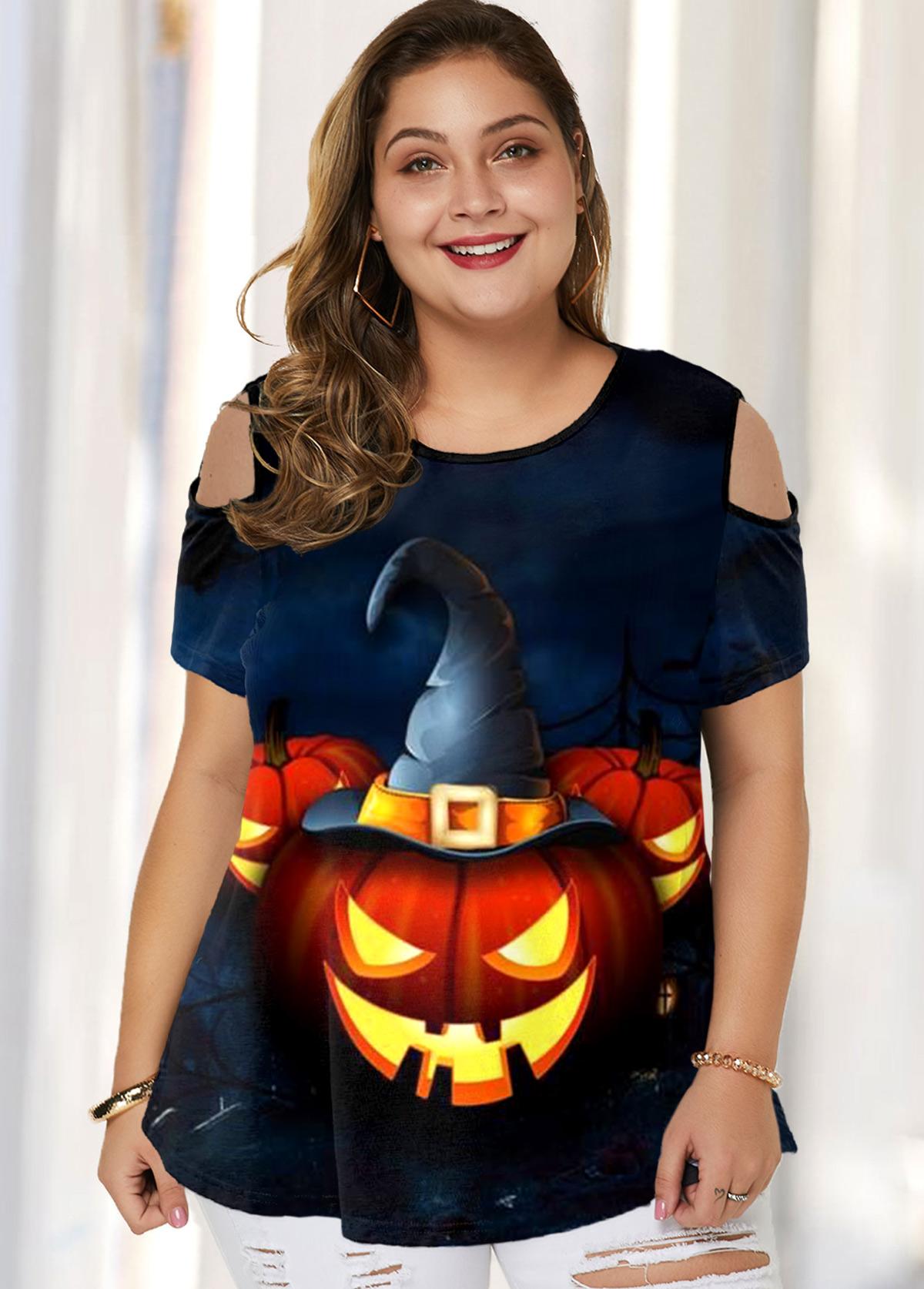 Plus Size Halloween Print Cold Shoulder T Shirt