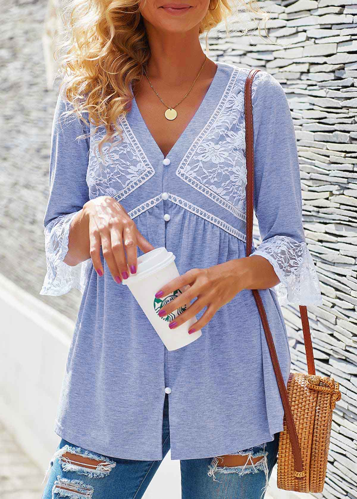 Lace Panel Button Detail V Neck T Shirt
