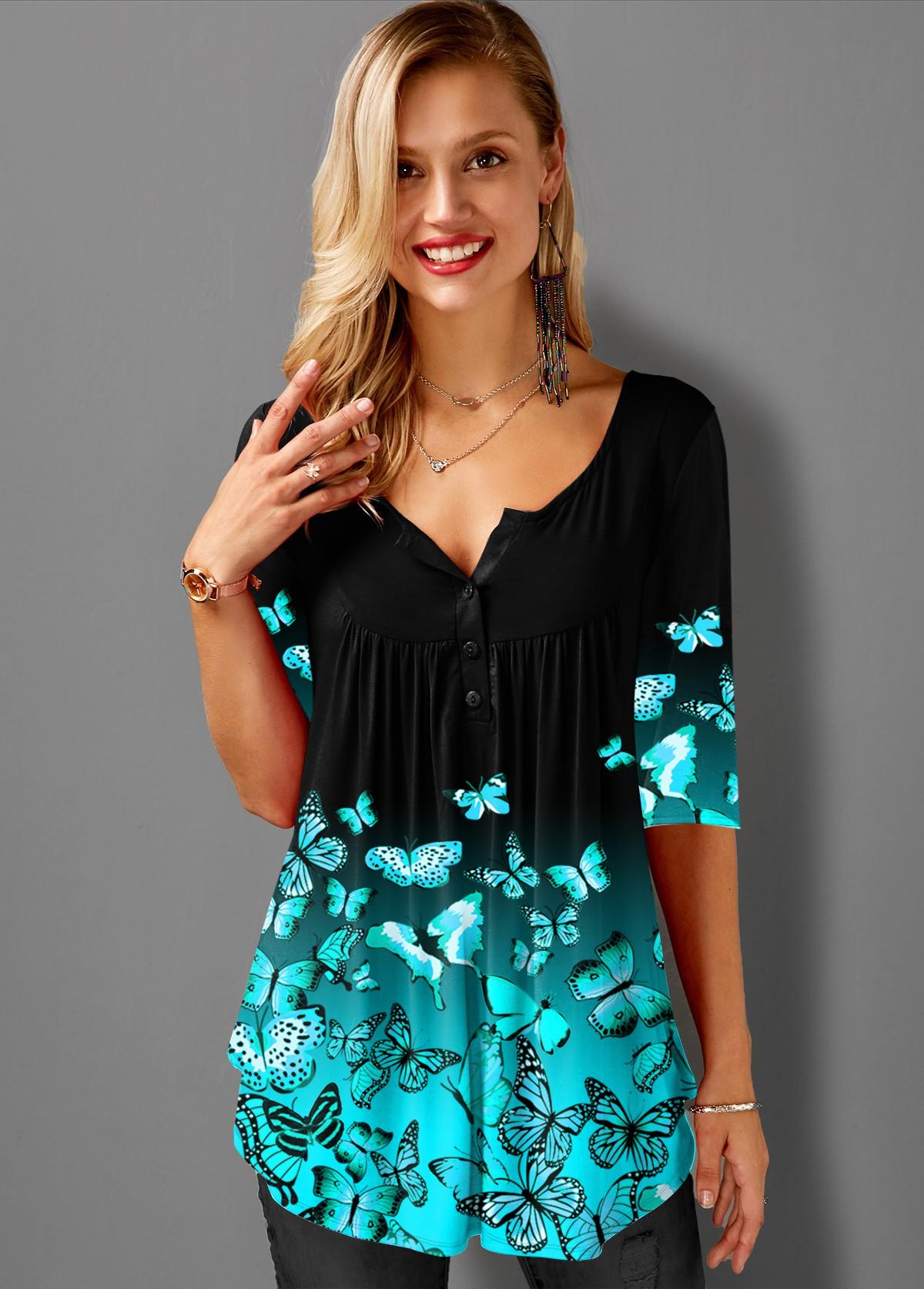 Butterfly Print Split Neck Ombre T Shirt