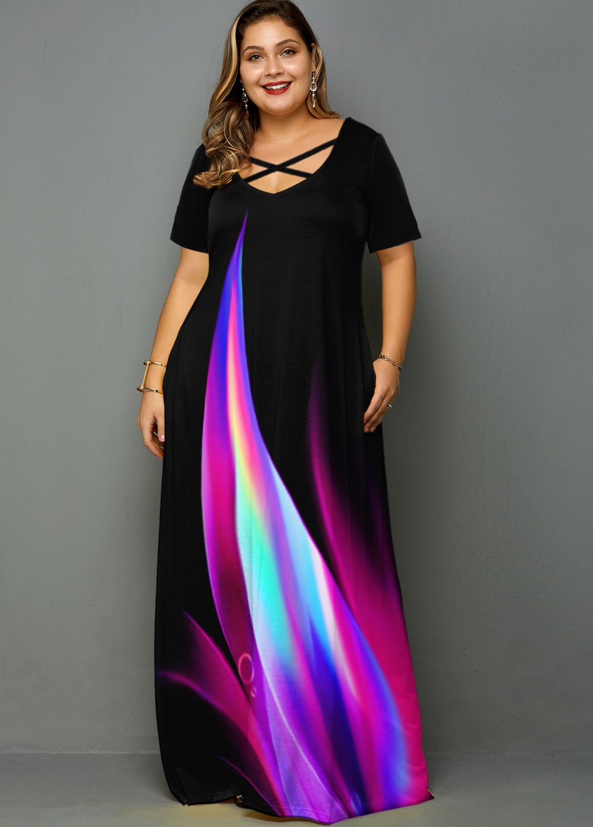 Plus Size Rainbow Print Side Pocket Maxi Dress