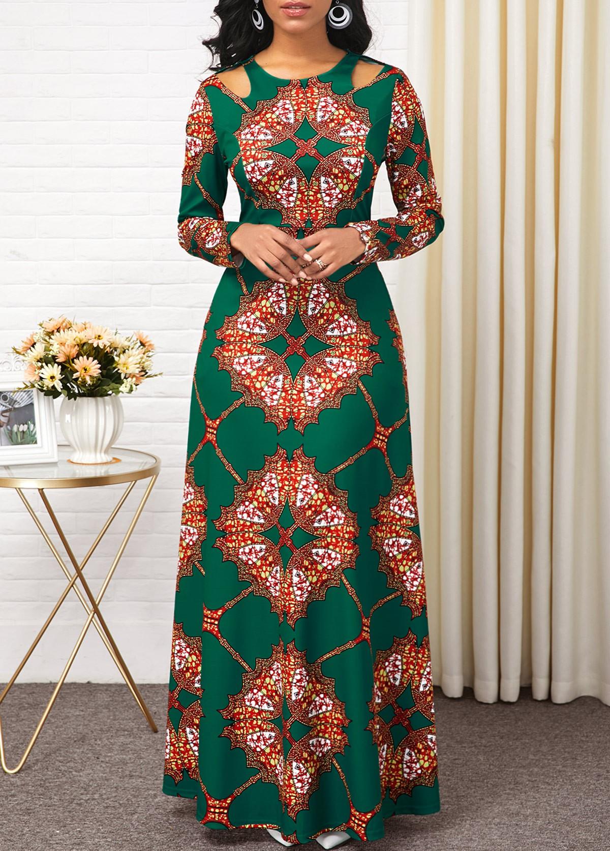 Tribal Print Cold Shoulder Long Sleeve Maxi Dress
