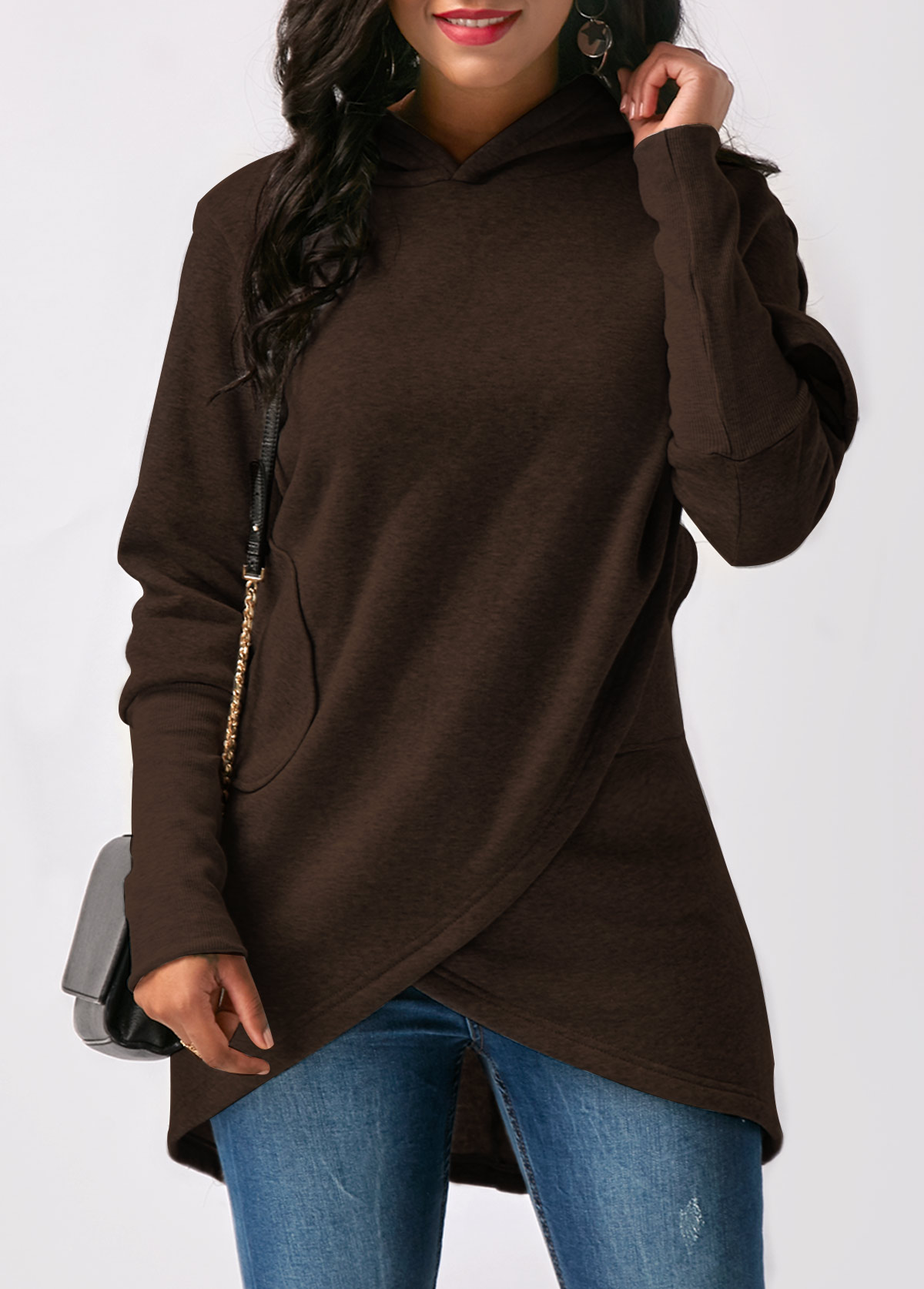 Asymmetric Hem Pocket Long Sleeve Hoodie