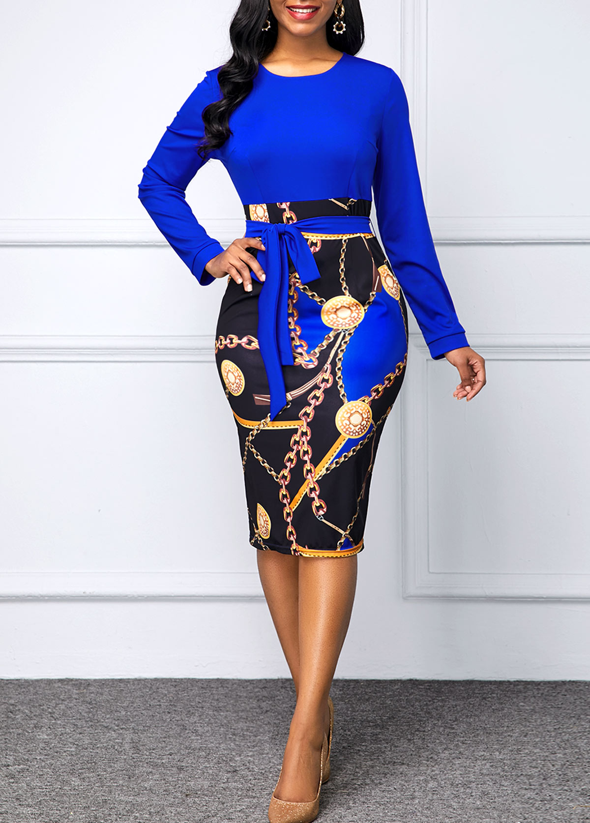 Chain Print Round Neck Belted Dress