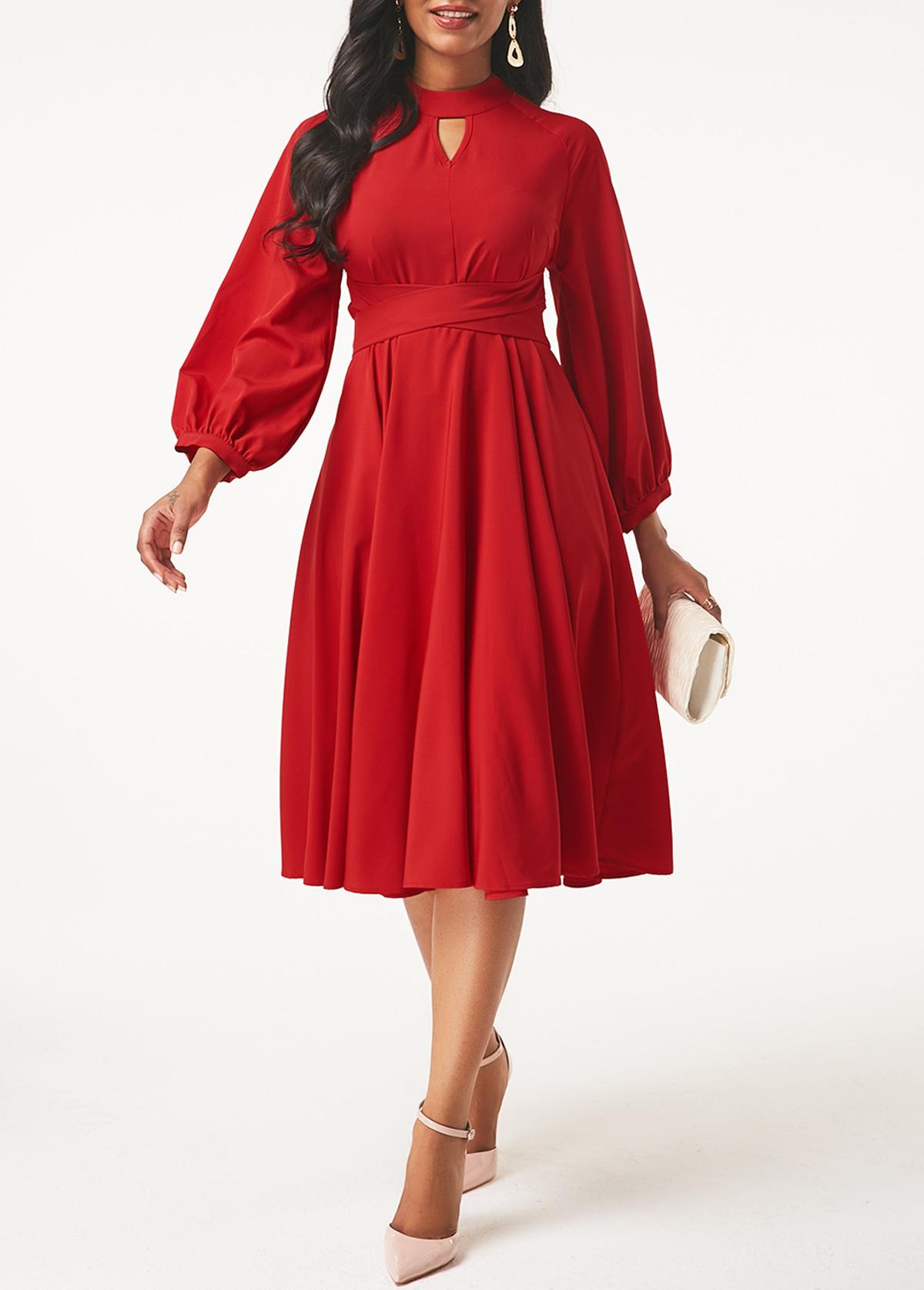 Lantern Sleeve Keyhole Neckline Red Dress