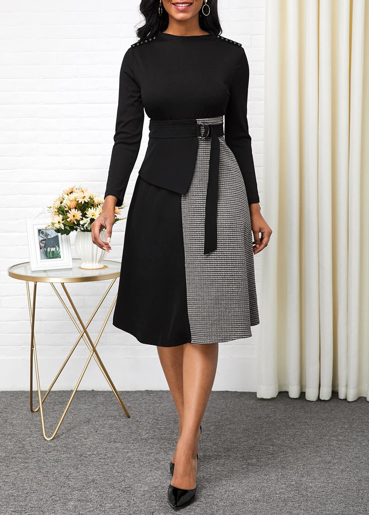 Contrast Buckle Detail Long Sleeve Dress