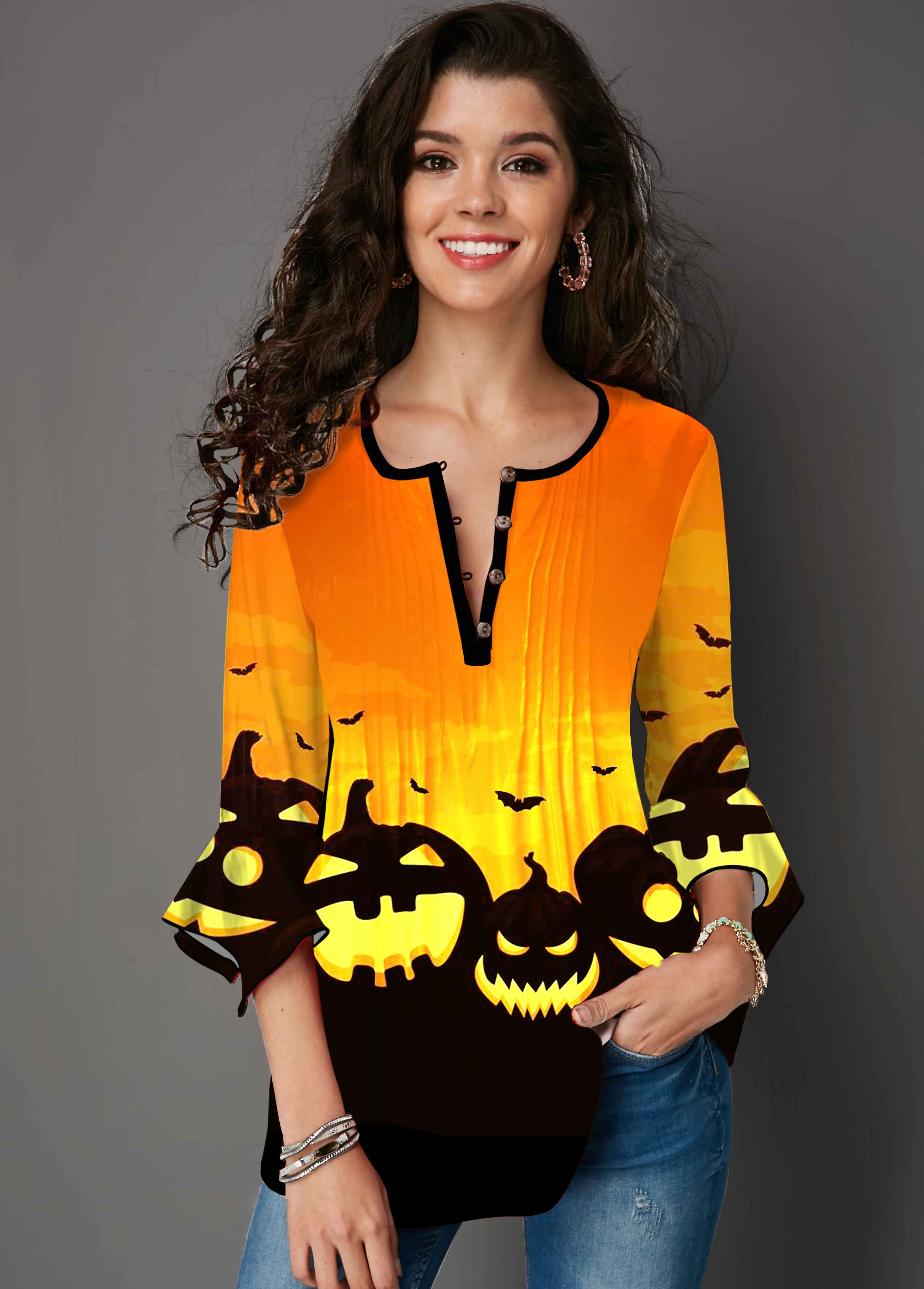 Halloween Print Hanky Cuff Round Neck T Shirt