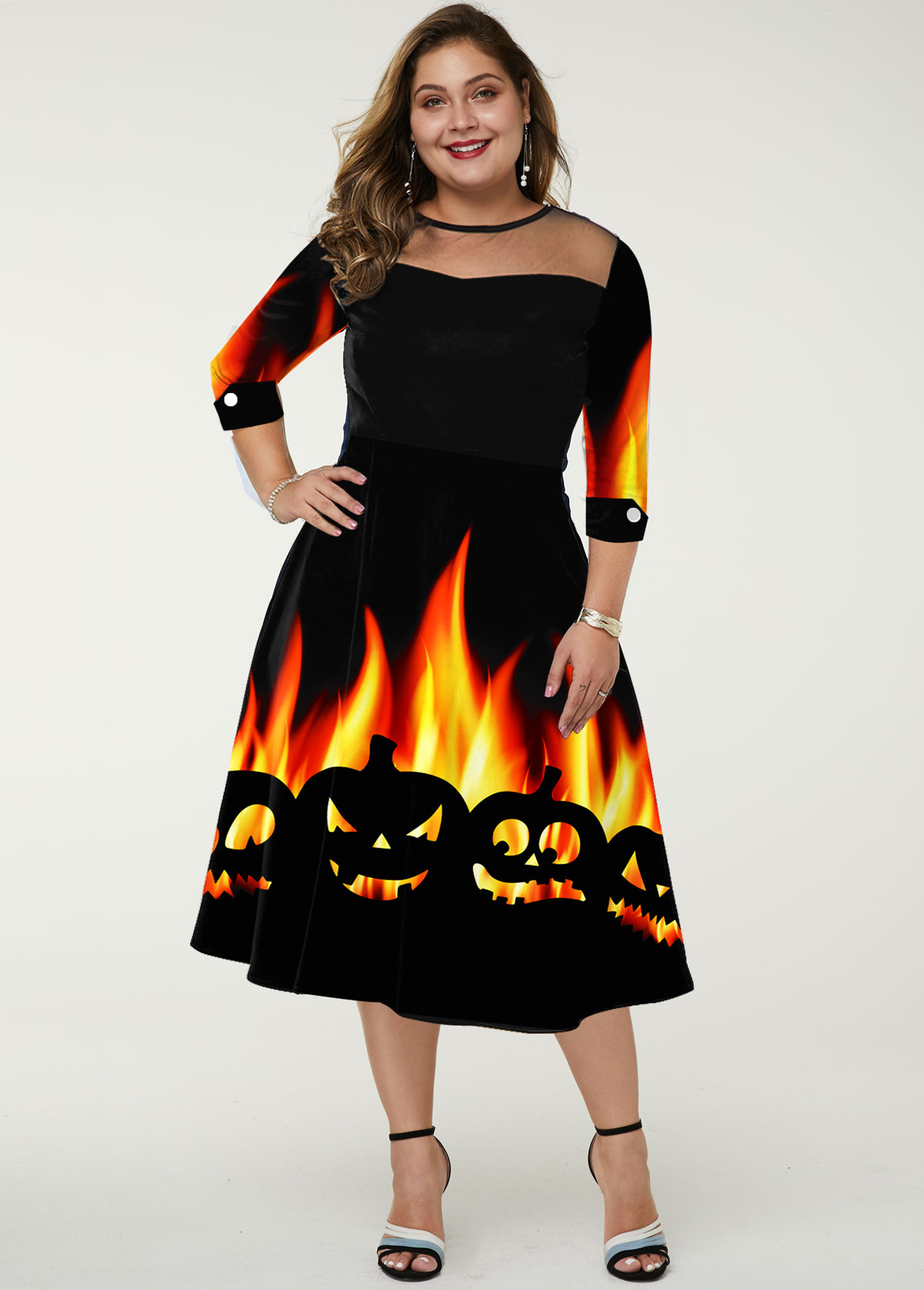 Plus Size Halloween Print Mesh Panel Dress