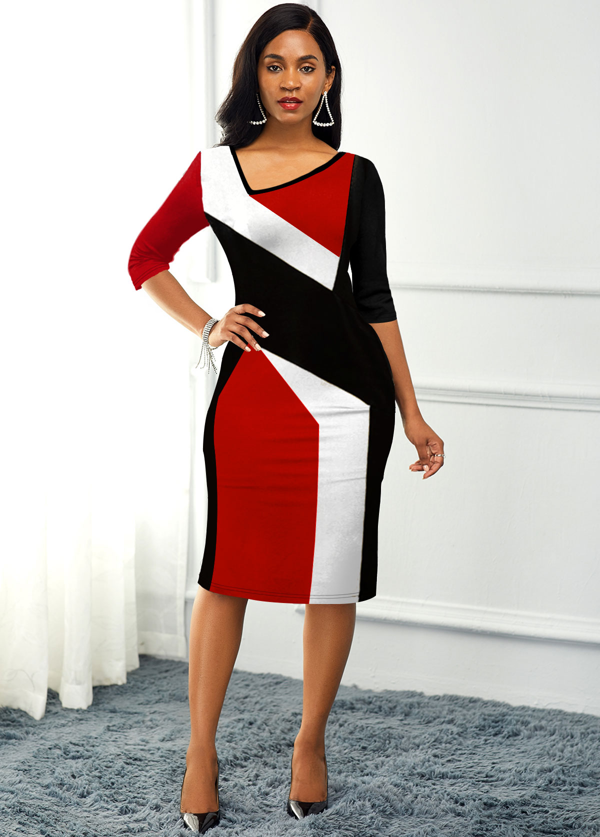 Color Block Back Slit Asymmetric Neck Dress