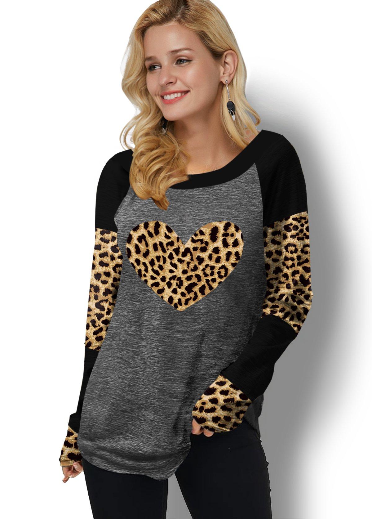 Leopard Print Contrast Long Sleeve T Shirt