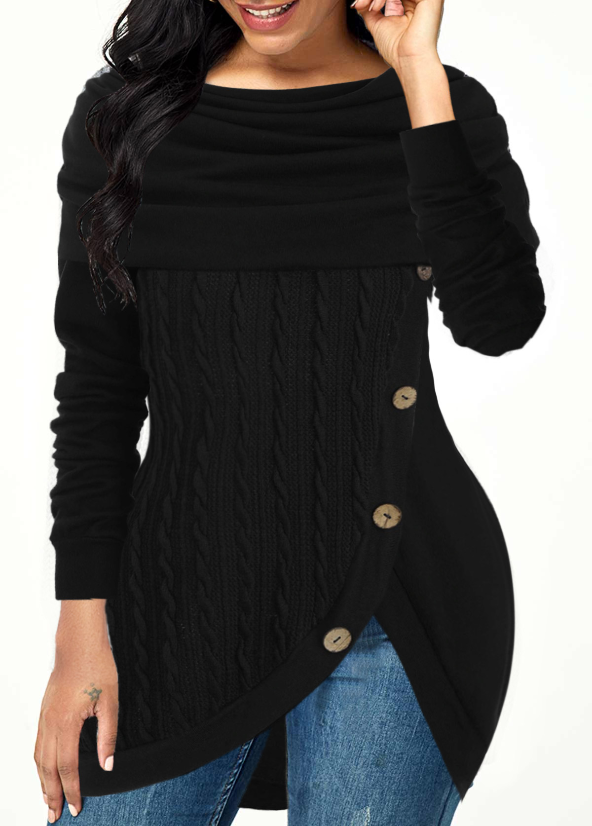Cowl Neck Inclined Button Tulip Hem Sweater