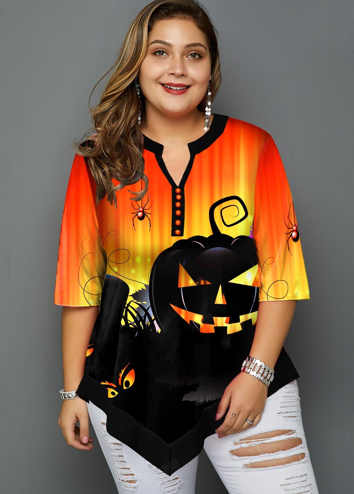 Plus Size Halloween Print Asymmetric Hem Blouse