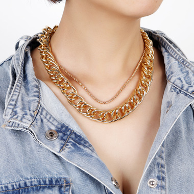 Gold Metal Wide Chain Layered Necklace