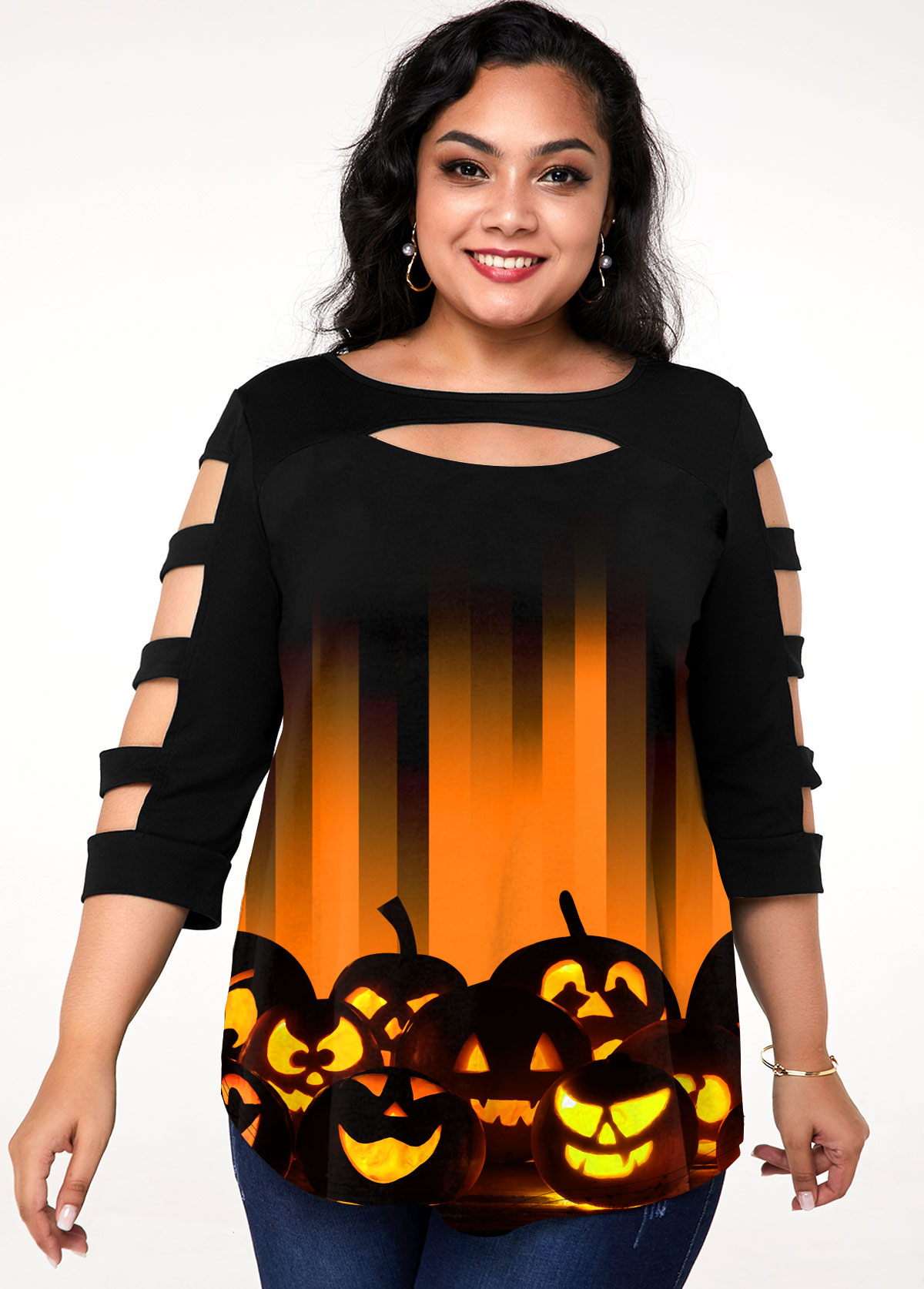 Plus Size Halloween Print Ladder Cutout T Shirt