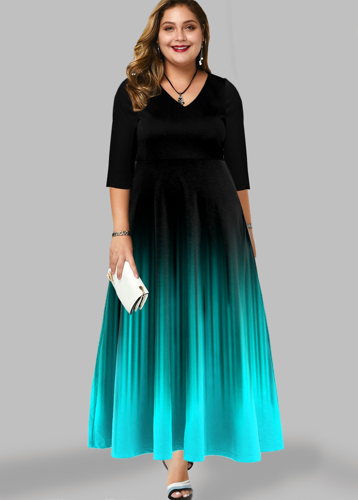 Plus Size Printed Ombre Maxi Dress
