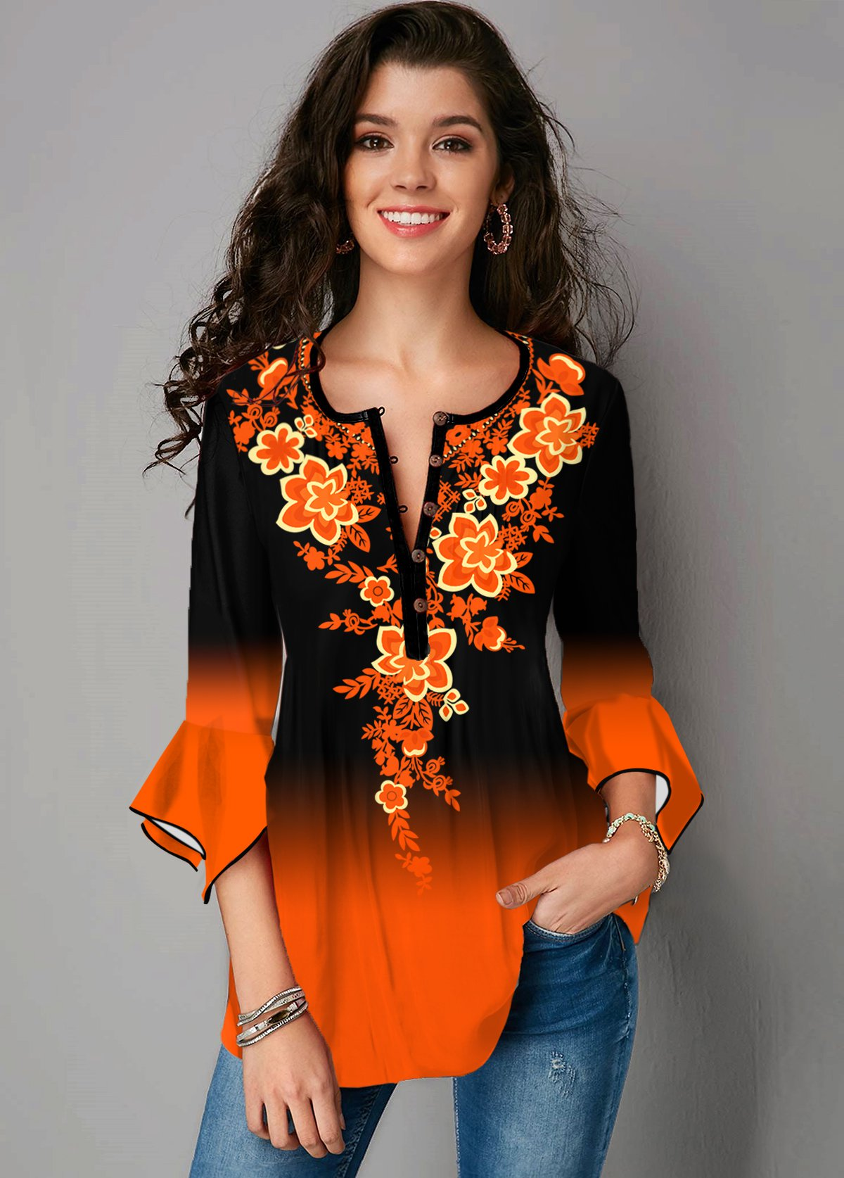 Tribal Print Hanky Cuff Round Neck Ombre Blouse