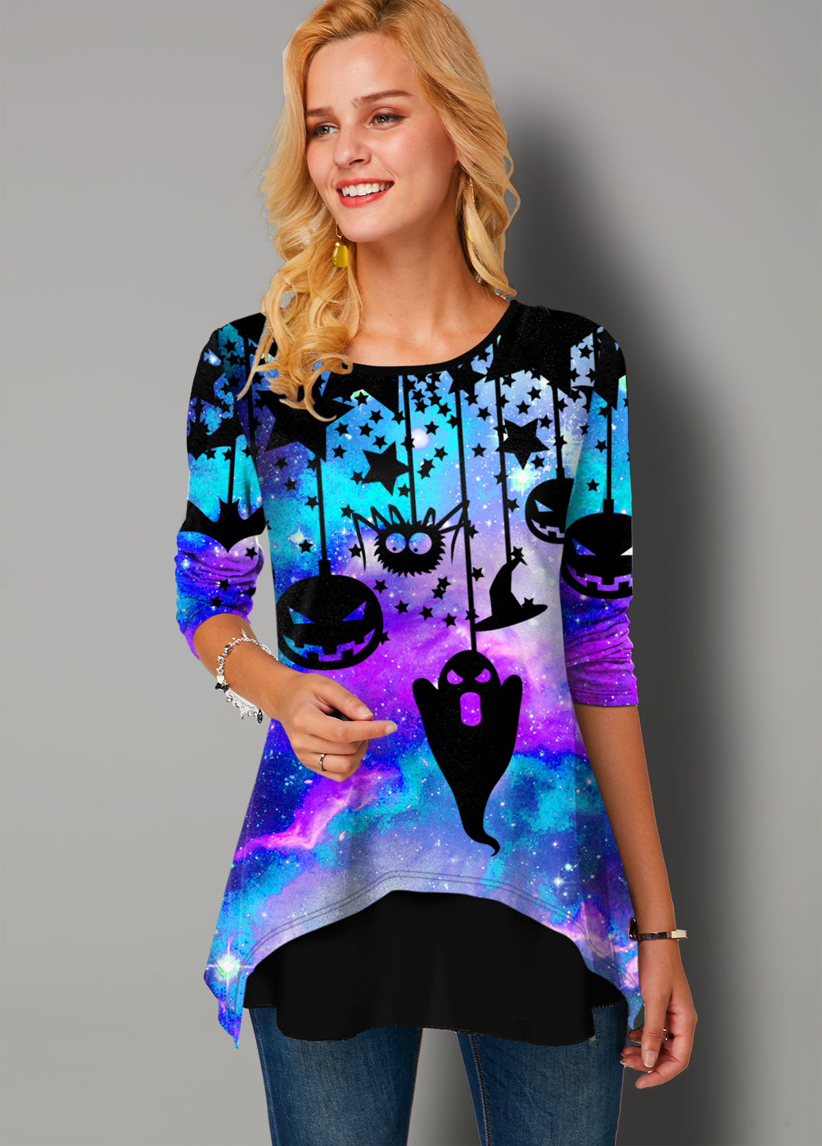 Halloween Print Faux Two Piece Long Sleeve T Shirt