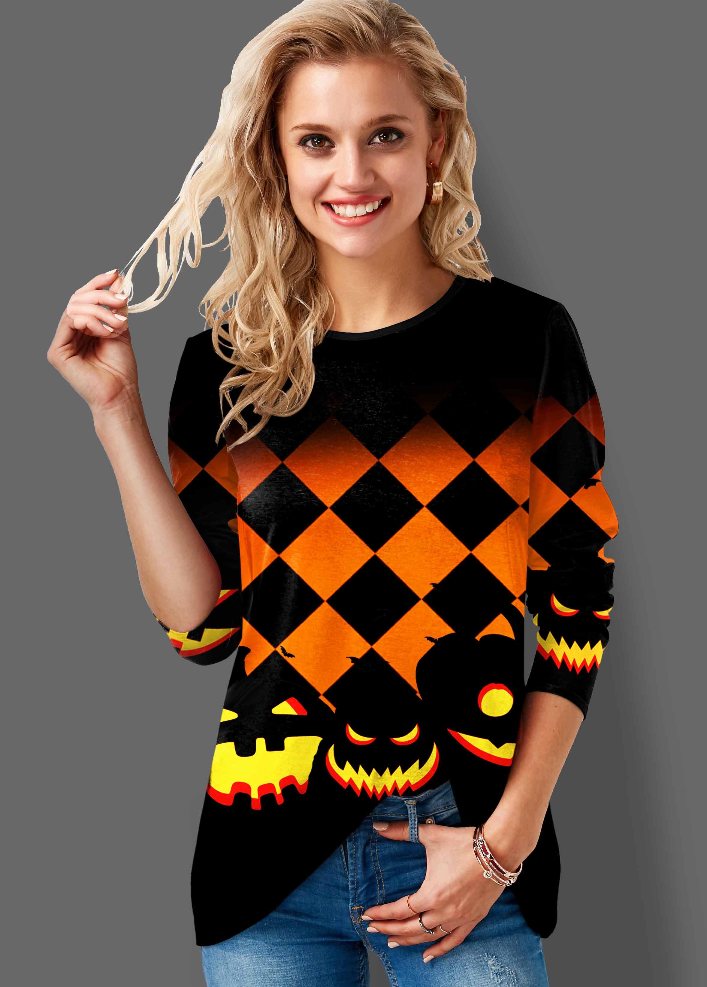 Halloween Print Round Neck Long Sleeve Sweatshirt