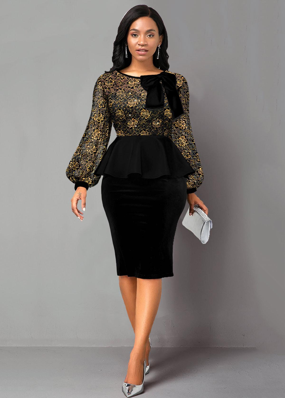 Lace Panel Sequin Peplum Waist Bowknot Dress