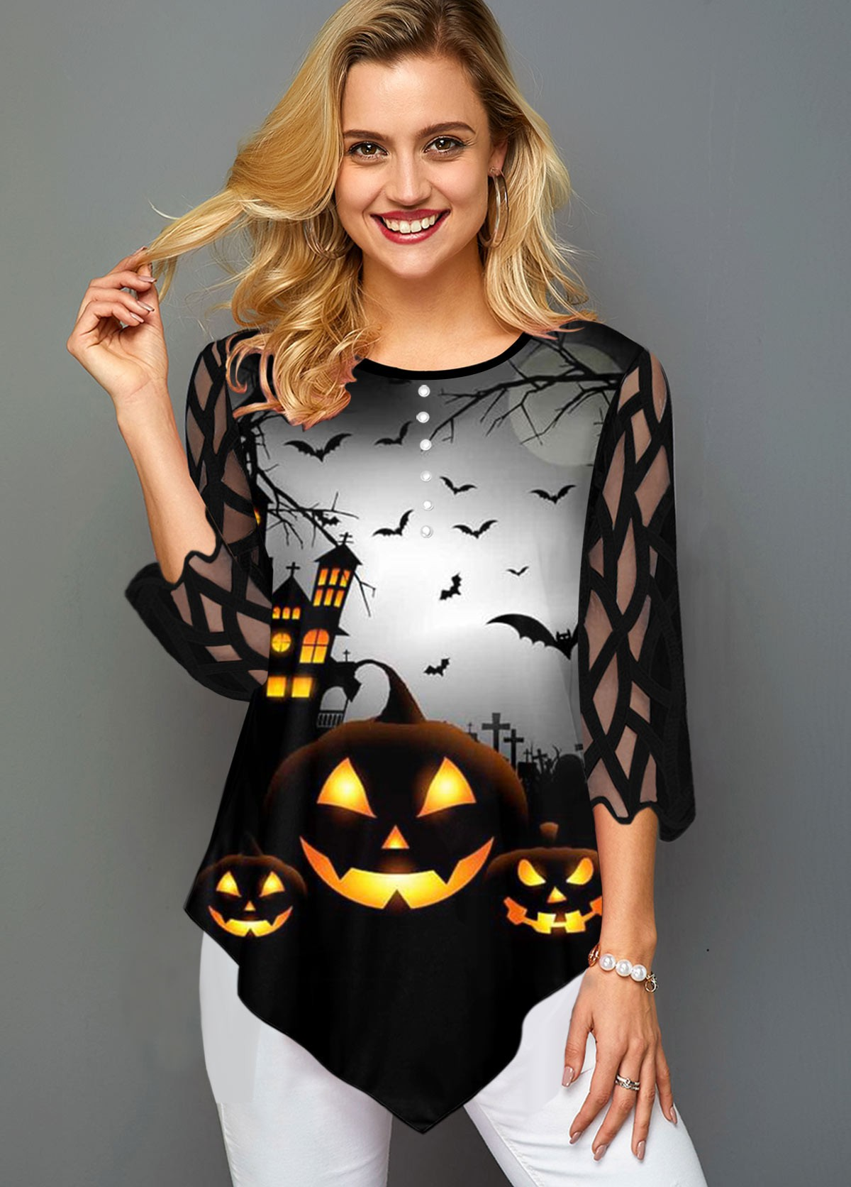 Asymmetric Hem Halloween Print Lace Panel T Shirt