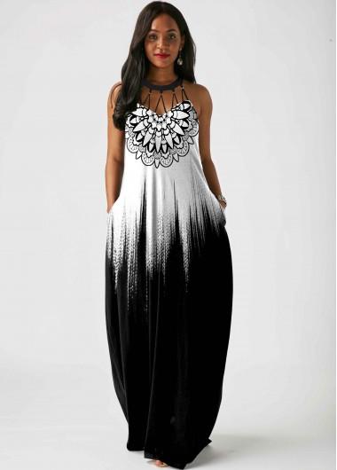Tribal Print Sleeveless Pierced Maxi Dress - L