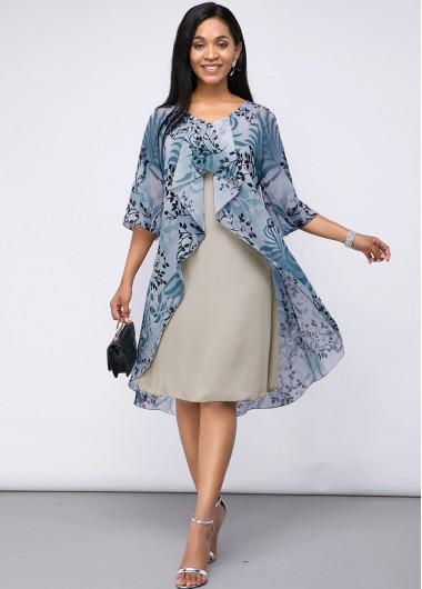 2 In 1 Women's Dresses, Two Piece Plant Print Chiffon Dress
