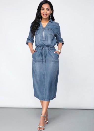 Turndown Collar Chest Pocket Denim Dress - L