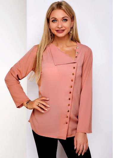 Inclined Button Oblique Collar Long Sleeve Blouse - L