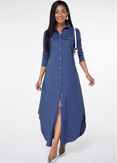 Button Up Asymmetric Hem Pocket Maxi Dress - L