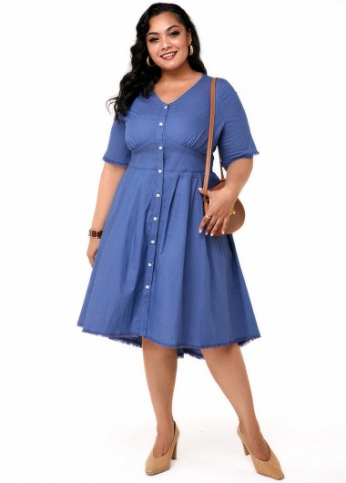 Plus Size Button Up V Neck Dress - 1X