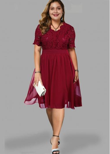 Plus Size Lace Panel Short Sleeve Dress - 1X