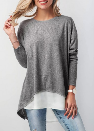Contrast Round Neck Button Back T Shirt - L