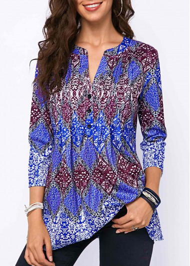 Modlily Crinkle Chest Split Neck Printed Blouse - XS
