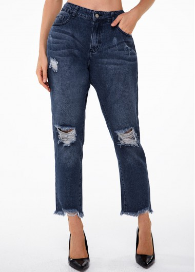 Frayed Hem Shredded Pocket Mid Waist Jeans - S