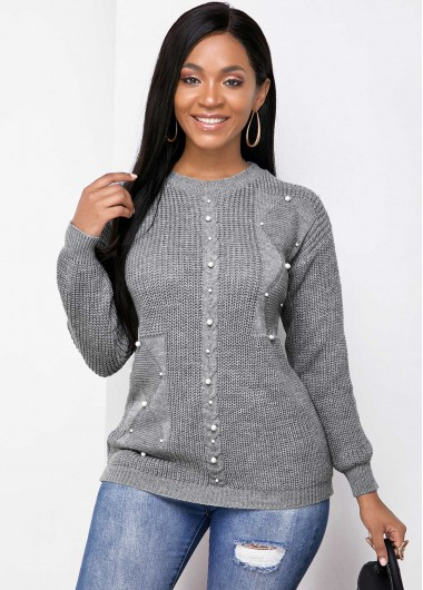 Pearl Detail Round Neck Long Sleeve Sweater - L
