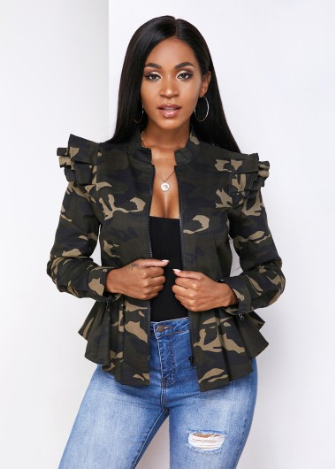 Camouflage Print Flounce Zipper Closure Jacket - L
