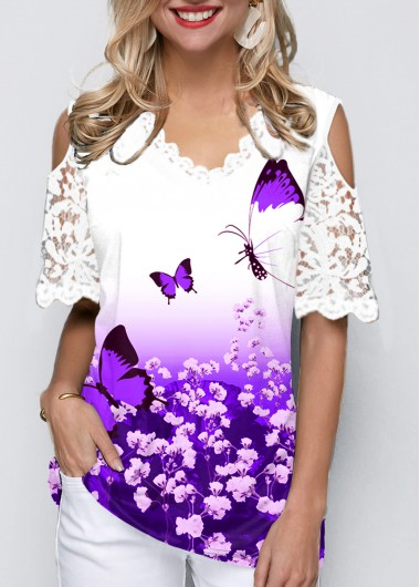 Butterfly Print Cold Shoulder Lace Panel Ombre T Shirt - L